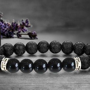 Lava and Onyx Stone Bracelet